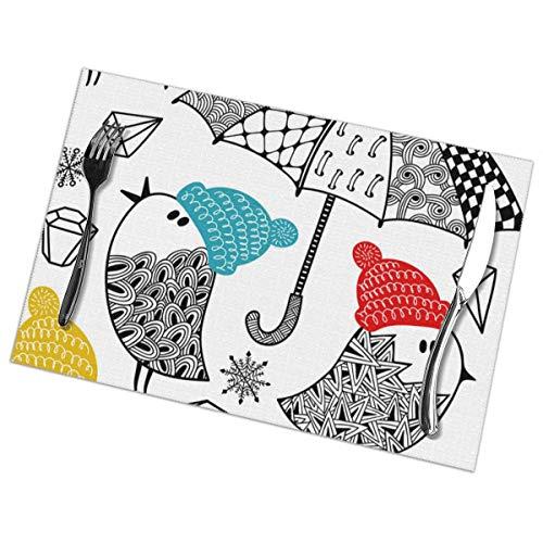 Dingl Vogels Met Paraplu's En Paraplu's In Winter Placemat Wasbaar Antislip Voor Keuken Diner Tafelmat, Gemakkelijk te reinigen Plaats Mat 12x18 Inch Set Van 6