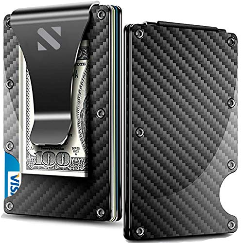 Carbon Fiber Money Clip Wallet - Aluminum Credit Card Wallet RFID - Mens Minimalist Slim Credit Card Holder - 2020 Upgraded Version