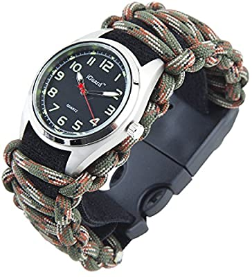 [Premium Adjustable] 8-in-1 Water Resistant Survival Tactical Emergency Watch Bracelet Hiking Camping Kit iGuard 550-lb Military Grade Paracord Fire Starter Compass Whistle Glows in The Dark