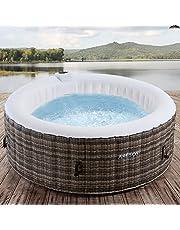 Arebos Whirlpool Granada | opblaasbaar | binnen en buiten | 4 personen | rotan | 100 massagejets | met verwarming | 800 liter | incl. afdekking | Bubble Spa & Wellness Massage