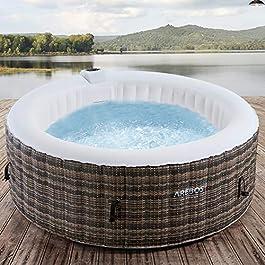 Arebos Whirlpool | Gonflable | Pour l'intérieur et l'extérieur | 4 personnes | rotin | 100 jets de massage | avec…