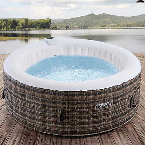 Arebos Whirlpool Granada | Aufblasbar | In- & Outdoor | 4 Personen | Rattan | 100 Massagedüsen | mit Heizung | 800 Liter | Inkl. Abdeckung | Bubble Spa & Wellness Massage
