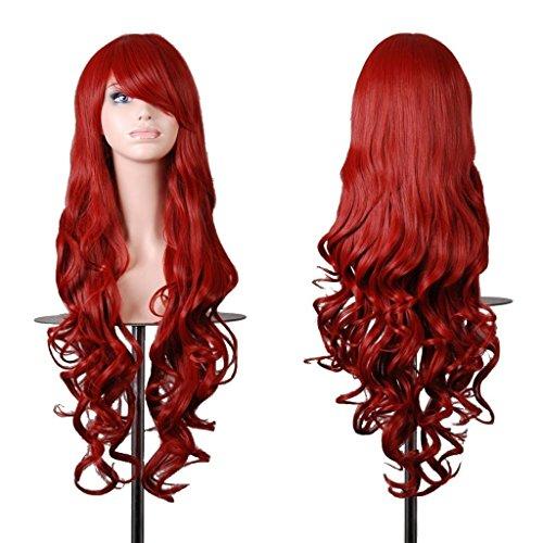 EmaxDesign de las pelucas 80cm calidad de alta largo completo de las mujeres pelo rizado pelo ondulado mechas prueba calor con pelo rulos libre peluca peine(color:rojo oscuro)