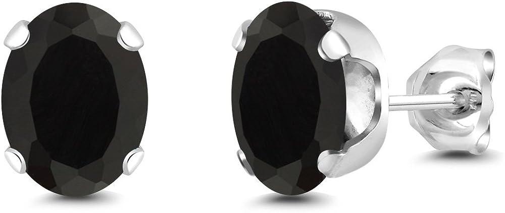Gem Stone King Black Onyx Stud Earrings Gemstone Birthstone 4-Prong 3.30 Ct Oval 8X6MM