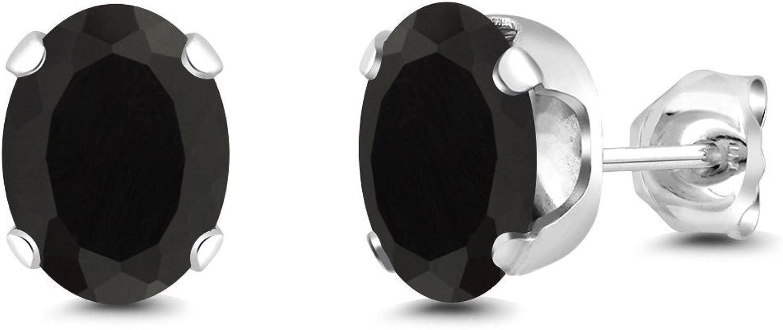 Gem Stone King 3.20 Ct Oval 8x6mm Black Onyx Silver Plated Brass Stud Earrings