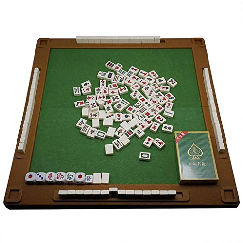 SEESEE.U Mini Travel Mah Jong, Brettspiel, 144 Kacheln Traditionelle chinesische Mahjong-Spiele mit gefaltetem Mahjong-Tisch, tragbarer Größe und leichten Kacheln