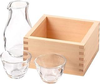 自宅で日本酒を楽しむひのき枡の冷酒クーラーと徳利盃セット五合枡+徳利+盃Sake cooler and Liquor set