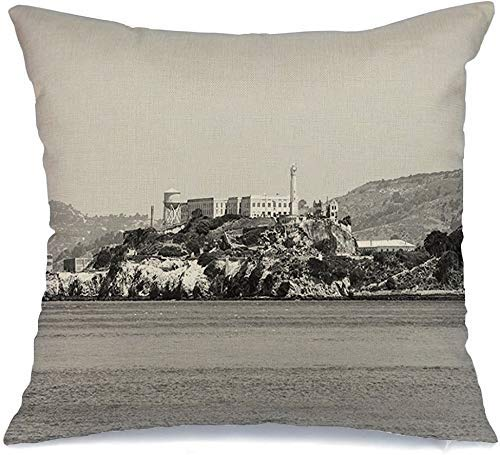 Funda de cojín Arquitectura Blanco Atracción Finanzas Isla de Alcatraz Visto San Francisco Negro Bay Blck California Funda de Cojine 45 X 45CM