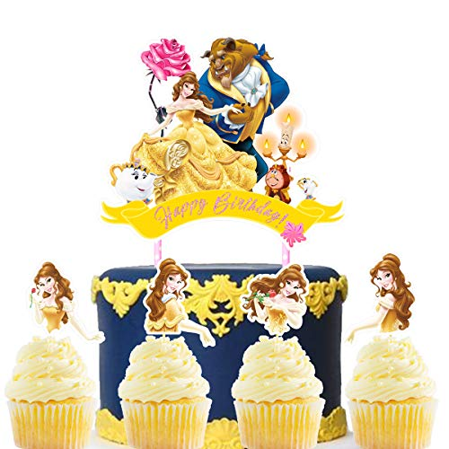 Decorations for Beauty and The Beast Cake Topper Cupcake Toppers Birthday Party Topper for Children