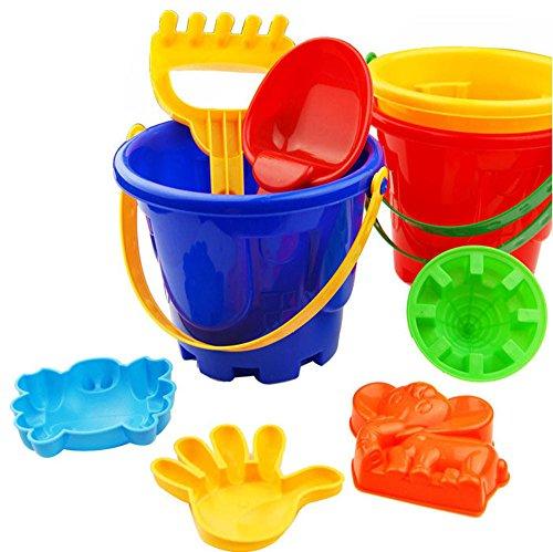 TUDUZ ✮ Kinder Strand Spielzeug Set ✮ , 7PCS Wasser Strand Sand Spielzeug mit Eimer, Schaufeln, Rechen, Formen Spielzeug Geschenke für Kinder Jungen Mädchen Kleinkinder (7 Pcs, Zufällig)