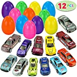 JOYIN 12 Die-Cast Car Filled Big Easter Eggs, 3.2' Bright Colorful Prefilled Plastic Easter Eggs with Different Die-cast Cars