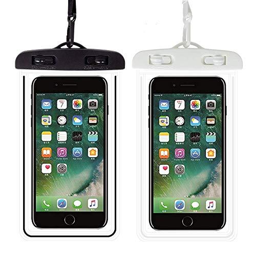 Funda Impermeable Móvi-2 Unidades-IPX8 Doble Sellado- Funda Impermeable Universal,Funda Agua Movil, para iPhone 11 Pro XS MAX X 8 Plus,Galaxy S10+ S9 S8 ,Huawei y más. (Blanco + Negro)