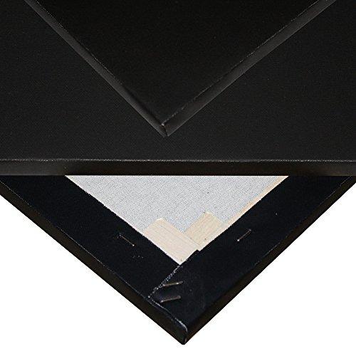 Niik Tele Tela Pittorica in Cotone Nero 50 x 70 x 1,7 cm con Graffe Posteriori nera da Dipingere per Pittori Pittura Telaio Telato alla Francese