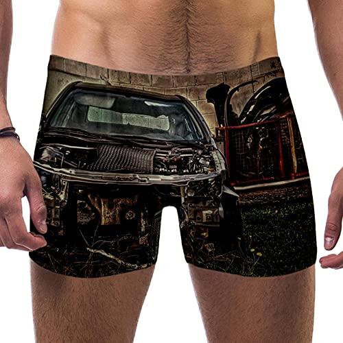Bennigiry Old Scrap Car - Traje de baño para hombre, diseño de tronco de pierna cuadrada para hombre, talla S