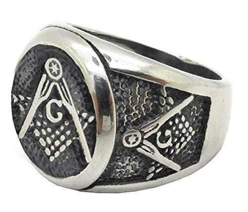 Ring - metselaarmeester - roestvrij staal - rond embleem - vierkant - reliëfkompas - zilverkleur - metselwerk - man en jongens
