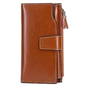 SENDEFN Women Leather Wallets RFID Blocking Clutch Card Holder Ladies Purse with Zipper Pocket 25