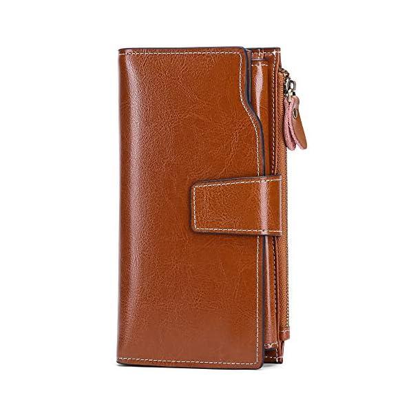 SENDEFN Women Leather Wallets RFID Blocking Clutch Card Holder Ladies Purse with Zipper Pocket 1