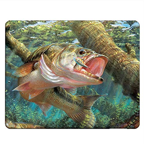 NICOKEE Fish Rectangle Gaming Mousepad Bass Fish Jumping Hook Mouse Pad Mouse Mat for Computer Desk Laptop Office 9.5 X 7.9 Inch Non-Slip Rubber