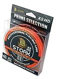 Stork HDx8, 8-hilo trenzado pesca premium 300m (Naranja, 10 lbs / 4.5 kg / 0.10 mm)