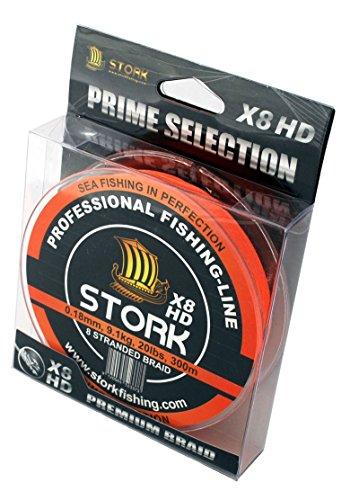 Stork HDx8, 8-corde ligne de pêche tressée prime 300m (Orange, 30 lbs / 13.6 kg / 0.22 mm)