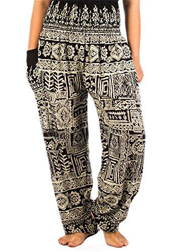LOFBAZ Harem Hippie Pants for Women's Yoga Boho Travel Lounge Clothing Bohemian Indian Beach Casual Smocked Waist Clothes Funky Black 4X-Large
