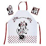 Tex idea, il regalo per i fan della Walt Disney Minnie Mouse: set grembiule da cucina con grembiule Miny 65% poliestere, 35% cotone