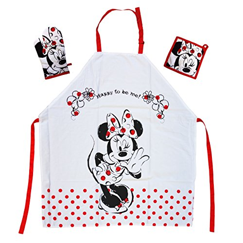 Tex idea Das Geschenk für Walt Disney Minnie Mouse Fan: Kochschürzenset mit Minnie Maus Mini Miny Schürze 65% Polyester/35% Baumwolle
