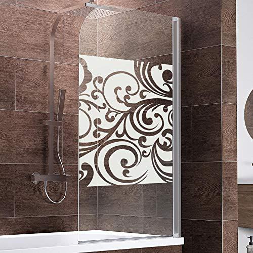 Schulte D1650 Duschwand Komfort, 80 x 140 cm, 5 mm Sicherheitsglas Floral, alu natur, Duschabtrennung für Badewanne