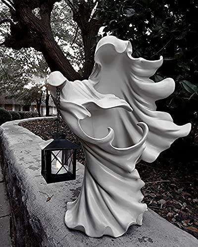 Mensajero del infierno con linterna, el fantasma en busca de una estatua de luz, estatua de fantasma de Halloween, linterna decorativa de bruja, mensajero del infierno aterrador.