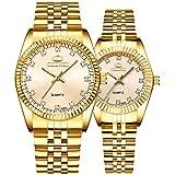 Couple Watches Swiss Brand Golden Watch Men Women Stainless Steel Waterproof Quartz Watch (Gold)