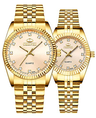 Couple Watches Swiss Brand Golden Watch Men Women Stainless Steel Waterproof Quartz Watch (Gold)