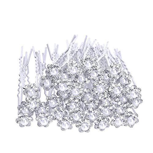 Wean- 20 piezas para el pelo de novia con perlas y flores...