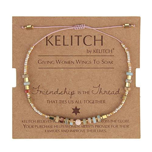 KELITCH Seed Beaded Friendship Bracelets Thin Rope Bracelets Women New Fashion Handmade Jewelry (Champagne F)