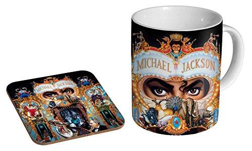 Michael Jackson Gefährliche Keramik-Kaffeetasse + Untersetzer Geschenk-Set ...