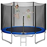 Upgraded 10 14 16FT Trampoline, Recreational Trampoline with Balance Bar and Safety Enclosure Net Outdoor Trampoline for Kids & Adults with Jump Mat Spring Cover & Ladder (14FT with Basketball Hoop)