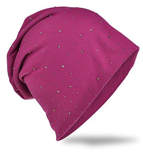 Cappello in morbido jersey con pregiata decorazione di strass, moda unisex, tinta unita orchidea taglia unica