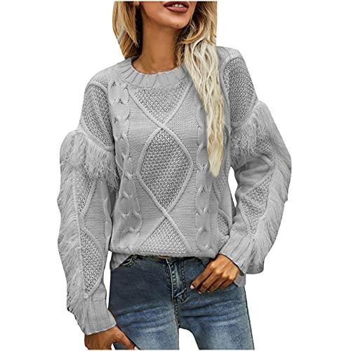 Suéter de mujer de gran tamaño, cuello redondo grande, con flecos, jersey de punto monocolor, jersey de manga larga, blusas informales, suéter de invierno cálido, gris, S