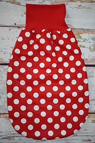 Kuscheliger Herbst Pucksack Schlafsack Strampelsack rot weiß gepunktet Dots Tupfen ca. 0-8 Monate mit Polarfleecefutter