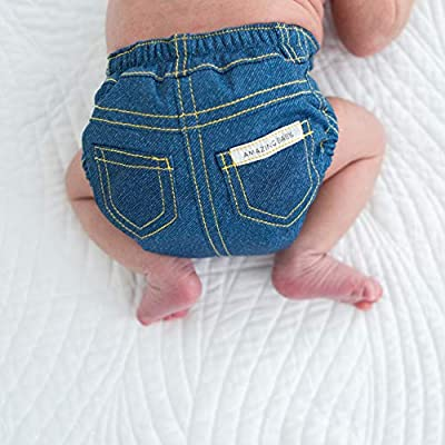 SmartNappy Blue Jeans by Amazing Baby, NextGen Hybrid Cloth Diaper Cover + 1 Tri-fold Reusable Insert + 1 Reusable Booster, Denim, Size 4, 22-40 lbs