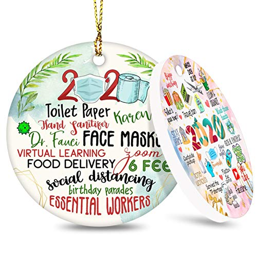 Two-Side Printed 2020 Christmas Ornament Quarantine, 2020 Event Ornament, Christmas Tree Ornaments Hanging Accessories - A Year to Remember