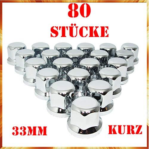 Tapacubos Easy Link de 80 x 33 mm, cromo y plástico, SW33, para remolques de camiones