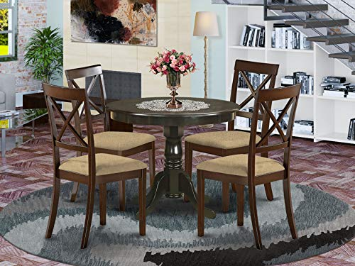 East-West Furniture ANBO5-CAP-C Wooden Dining Table Set- 4 Amazing dining room chairs - A Wonderful Mid Century Dining Table- Linen Fabric seat and Cappuccino Finish Modern Dining Table