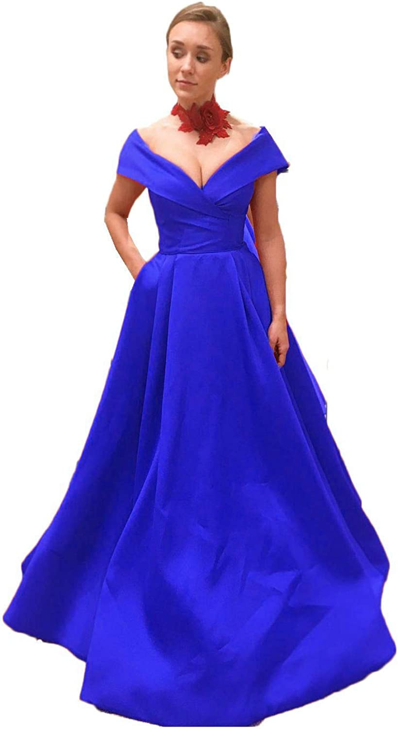 Jdress Women's Long Satin Off The Shoulder Prom Dress A Line Evening Formal Gowns with Pockets