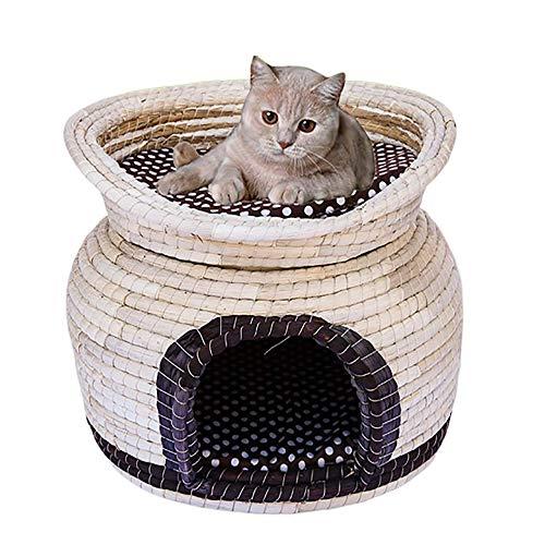 YSYDE huisdier kat nest hand geweven slaaphuis, vier jaar universele kat nest, vochtafstotend en veilig, dubbele laag ontwerp, huisdieren kunnen spelen op de bovenste oor