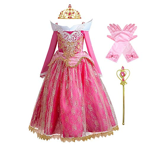 HOIZOSG Disfraz de princesa Aurora para niñas durmiendo, belleza, cumpleaños, carnaval, Halloween, disfraz de Navidad con accesorios