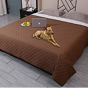 Waterproof Dog Bed Cover Washable Pet Blanket,ReusableDog Cover for Couch with Non-Slip Back,Waterproof Comforter Bed Cover Furniture Protector,Soft Puppy Blankets for Dog,Cat,Kids (52″x82″, Coffee)
