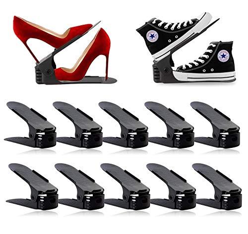 Delgeo Schuhregal 10 Stück Einstellbare Schuhstapler, Schuh Organisierer Set, 4 Höhenverstellbar, Platzsparend, rutschfest, Kunststoff- Schwarz