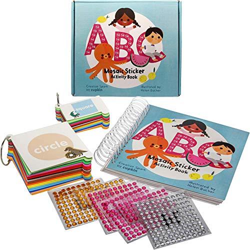CUPKIN - Kit di adesivi per mosaico per bambini e adulti, motivo: alfabeto ABC, 52 scene di mosaico con 3.150 adesivi in schiuma e gioielli, molti pezzi extra per ragazzi e ragazze