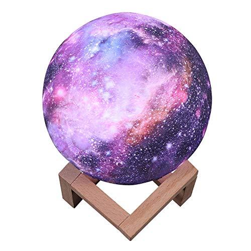 WWWL La luz de la noche ainted estrellada luz de la luna de la lámpara 3D toque decoración del hogar creativo regalo usb led luz de la noche de la galaxia lámpara led luz de la luna 15cmball