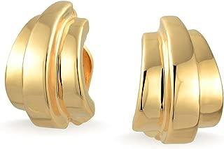 Geometric Dome Shrimp Half Hoop Clip On Earrings For Women Non Pierced Ears 14K Gold Silver Plated Brass